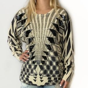 Vintage Sequin Sweater Geometric Lambswool Small